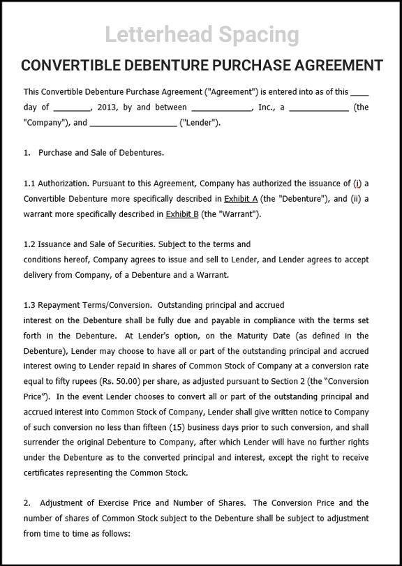 Convertible Debenture Purchase Agreement
